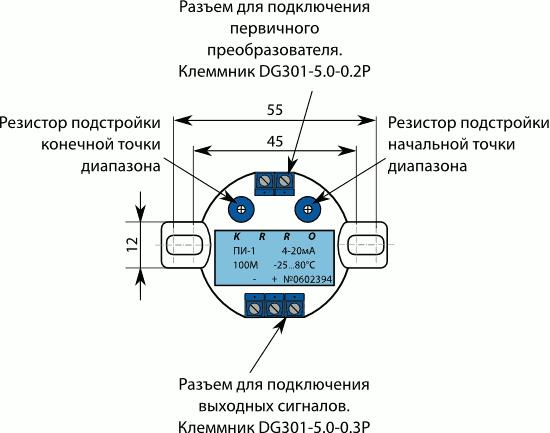 Лицевая сторона ПИ, ПИ-Ех с первичным преобразователем типа термопреобразователь сопротивления и выходным токовым сигналом 4…20 мА