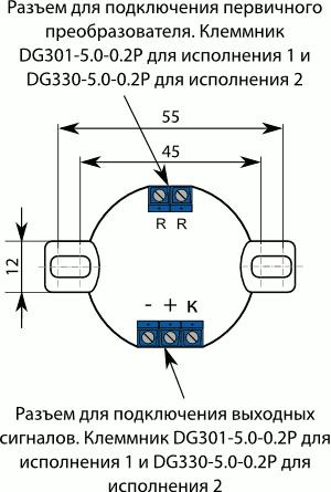 Лицевая сторона ПИ-М, ПИ-М-Ех исполнение 1 с первичным преобразователем типа термопреобразователь сопротивления