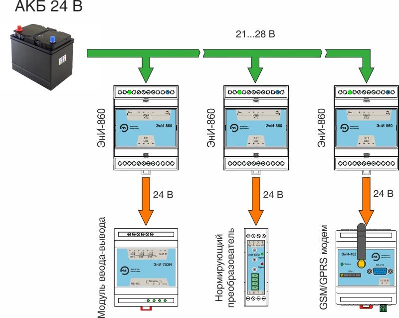 Пример включения преобразователя (конвертера) напряжения ЭнИ-860 от аккумуляторной батареи