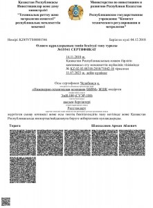 ЭнИ-100 Certificate of Recognition of SI Type Approval in Kazakhstan (KZ)