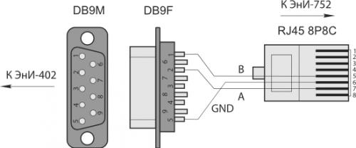 Схема кабеля для подключения ЭнИ-752 к ЭнИ-402