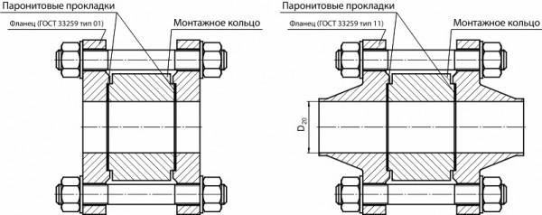 Фланцевые соединения серии КФ для диафрагм ДКС исполнение 2