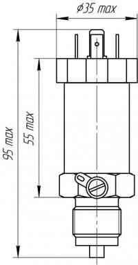 Габаритные размеры малогабаритного общепромышленного датчика избыточного давления ЭнИ-12М